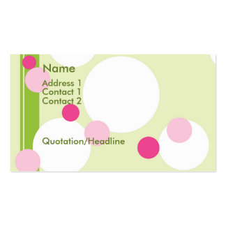 KRW Lime and Pink Dots Custom Business Card