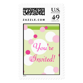 KRW Lime and Pink Dots Wedding Shower Stamp