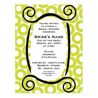 KRW Lime Circle Custom Shower Invitation Postcard