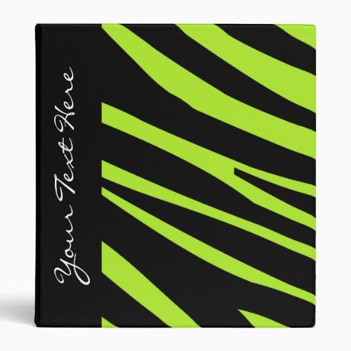 KRW Lime Zebra Stripes Back to School Binder*