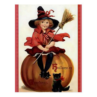 KRW Little Witch Vintage Halloween Postcard