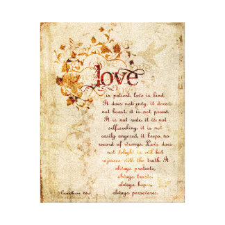 KRW Love is Patient Corinthians Bible Quote Art Canvas Print