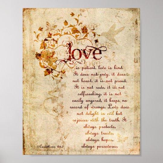 Krw Love Is Patient Corinthians Bible Quote Poster Zazzlecom