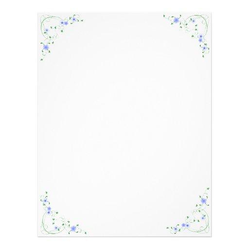 KRW Lovely Blue Floral Corner Design Letterhead