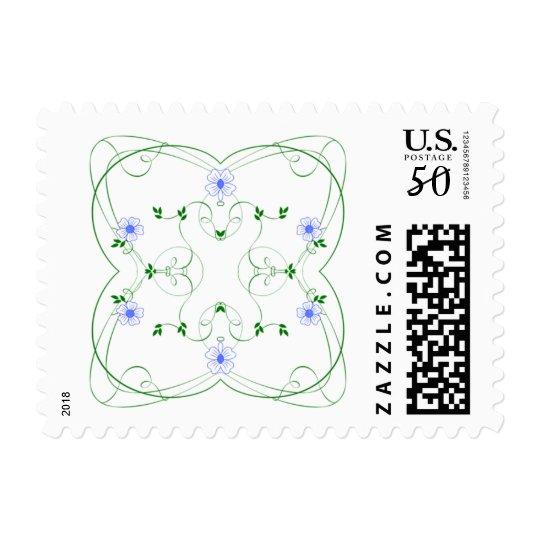 KRW Lovely Blue Floral Stamp