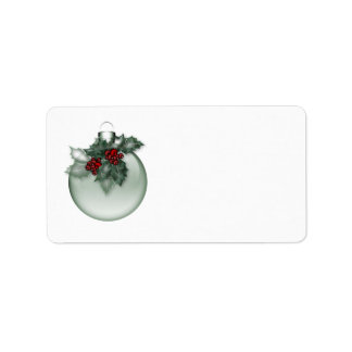 KRW Lovely Ornament with Holly Blank Address Label