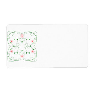 KRW Lovely Pink Floral Blank Shipping Label