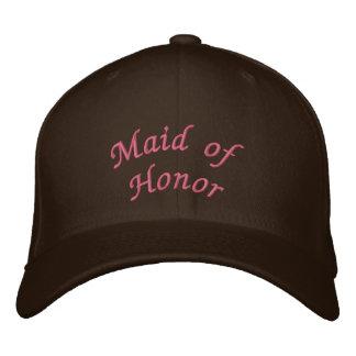 KRW Maid of Honor Script Pink and Brown Baseball Cap