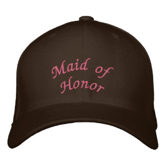 KRW Maid of Honor Script Pink and Brown Embroidered Hats