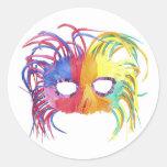 KRW Mardi Gras Feather Mask Classic Round Sticker