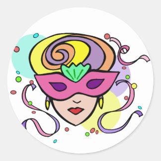 KRW Mardi Gras Festival Mask Classic Round Sticker