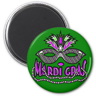 KRW Mardi Gras Mask and Beads 2 Inch Round Magnet