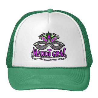 KRW Mardi Gras Mask and Beads Mesh Hat