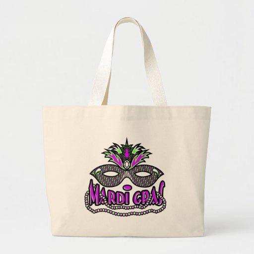KRW Mardi Gras Mask and Beads Jumbo Tote Bag