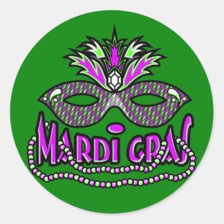 KRW Mardi Gras Mask and Beads Round Sticker