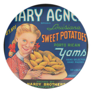 KRW Mary Agnes Yams Vintage Vegetable Label Plate