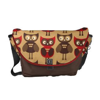 KRW Modern Red and Brown Owls Messenger Bag