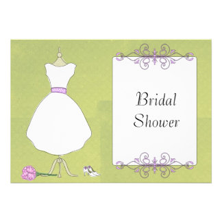 KRW Modern Wedding Dress Bridal Shower Custom Invites