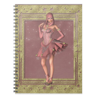 KRW muy en cuaderno rosado del bufón de la fantasí