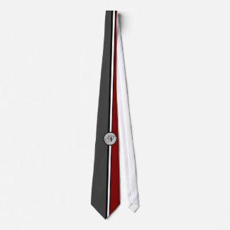 KRW - N - Retro Red Gray Monogrammed Tie