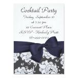 "KRW Navy Blue Damask Cocktail Party Invitation 5"" X 7"" Invitation Card"