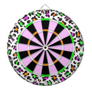KRW Neon Leopard Print Girly Dartboard