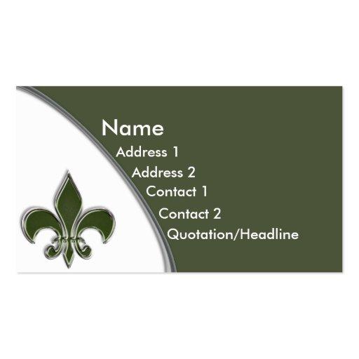 KRW Olive Fleur De Lis Two Tone Business Card