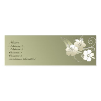 KRW Olive Green Elegant Floral Profile Card Business Card Template