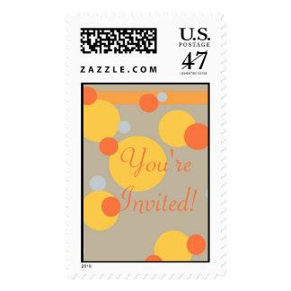 KRW Orange and Yellow Dots Wedding Shower Stamp