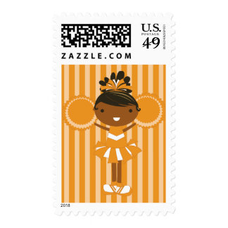 KRW Orange Cheerleader Birthday Party Stamp