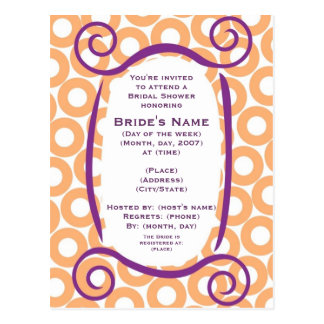 KRW Orange Circle Custom Shower Invitation Postcard
