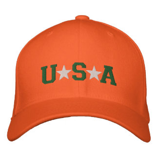 KRW Orange Green and White USA Stars Embroidered Embroidered Hat