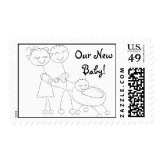 KRW Our New Baby Cute Stick Figure Family Postage