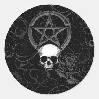 KRW Pagan Grunge Skull Classic Round Sticker
