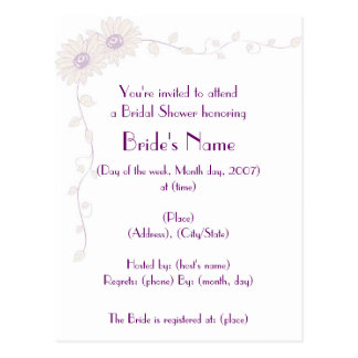 KRW Pale Daisy Custom Shower Invitation Postcard