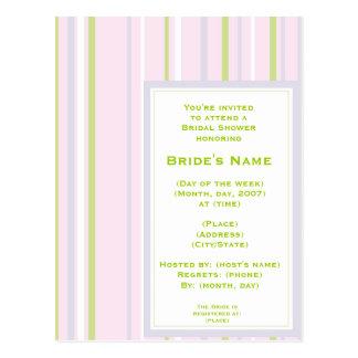 KRW Pastel Stripe Custom Shower Invitation Post Cards