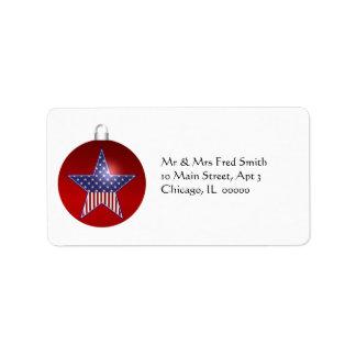 KRW Patriotic Holiday Ornament Address Label