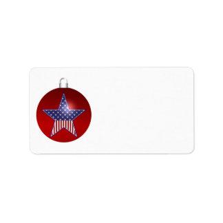 KRW Patriotic Holiday Ornament Blank Address Label
