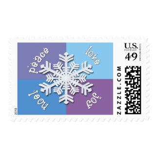 KRW Peace Love Joy Noel Holiday Snowflake Postage