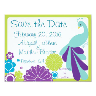 KRW Peacock Floral Custom Save the Date Card