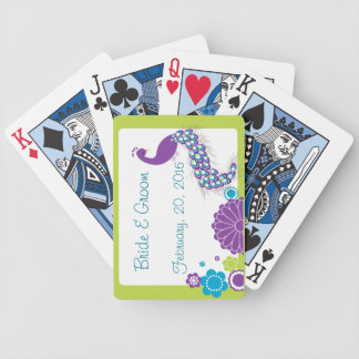 KRW Peacock Floral Wedding Favor Playing Cards