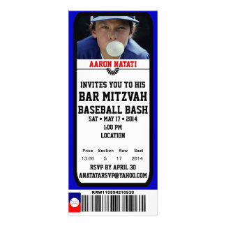 KRW Photo Baseball Bar Mitzvah Ticket Invitation