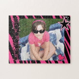 KRW Pink and Black Zebra Diva Custom Photo Puzzle