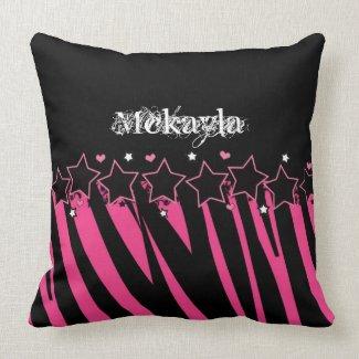 KRW Pink and Black Zebra Diva Stars Decor Pillow