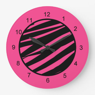KRW Pink and Black Zebra Diva Wall Clock
