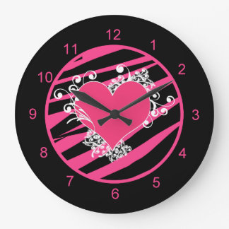 KRW Pink and Black Zebra Heart Diva Wall Clock