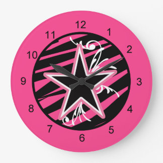 KRW Pink and Black Zebra Star Diva Wall Clock