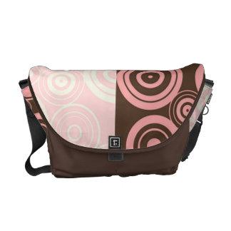 KRW Pink and Brown Circles Messenger Bag