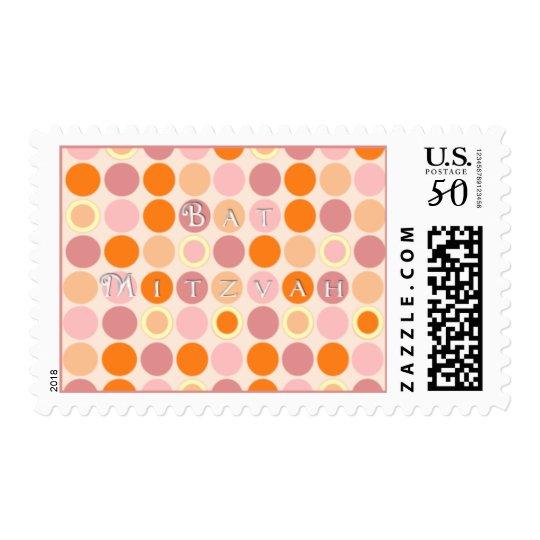 KRW Pink and Orange Dots Bat Mitzvah Postage