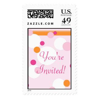 KRW Pink and Orange Dots Wedding Shower Stamp